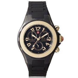 🆕Michele Black, Gold Glitter Watch